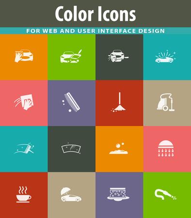 Car wash icon set for web sites and user interface Ilustração