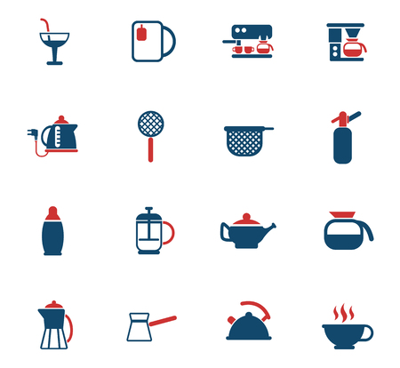 utensils for beverages color vector icons for web and user interface design