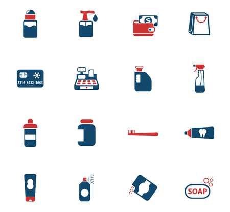 chemicals store color vector icons for web and user interface design