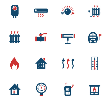 heating web icons for user interface design Vettoriali