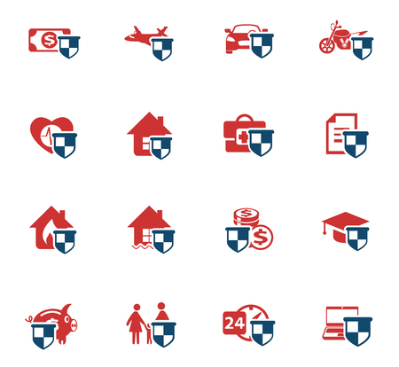 insurance vector color icons for web and user interface design