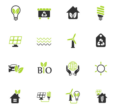alternative energy color vector icons for web and user interface design
