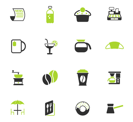 cafe color vector icons for web and user interface design Illustration