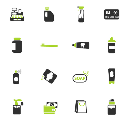 Chemikalien speichern Farbvektorsymbole für Web- und Benutzeroberflächendesign Vektorgrafik