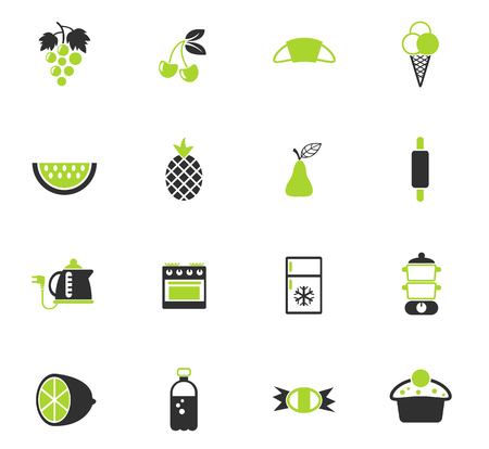 food and kitchen color vector icons for web and user interface design