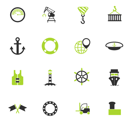 harbor vector icons for web and user interface design  イラスト・ベクター素材