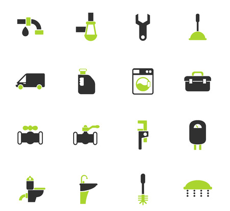 plumbing service vector icons for web and user interface design