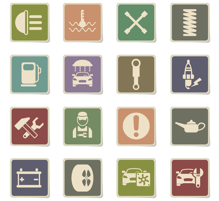 car service vector icons for web and user interface design