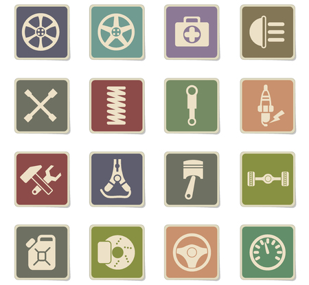 car shop vector icons for web and user interface design