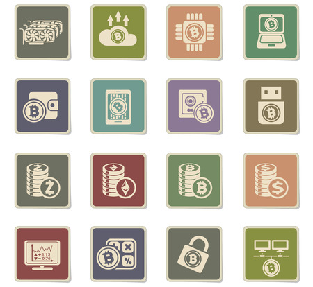 Bitcoin and cryptocurrency icons for your design progects Vectores
