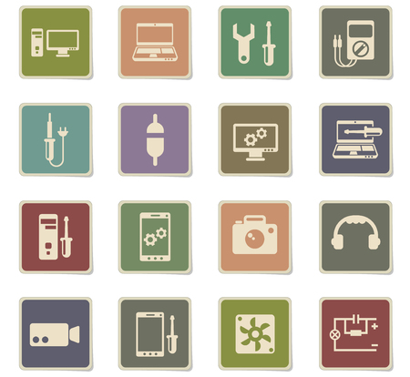 electronics repair vector icons for web and user interface design
