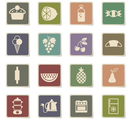 food and kitchen vector icons for web and user interface design
