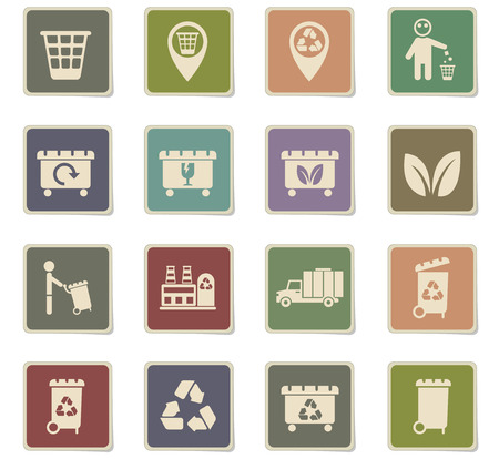 garbage vector icons for web and user interface design Vectores