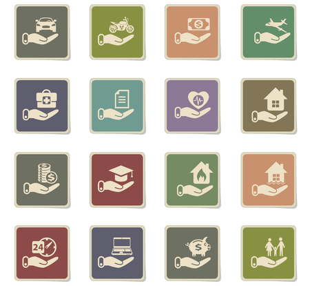 insurance vector icons for web and user interface design Stock Illustratie
