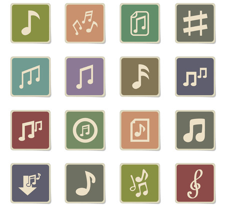 musical notes web icons for user interface design Illustration