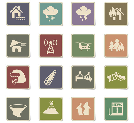 natural disasters web icons for user interface design