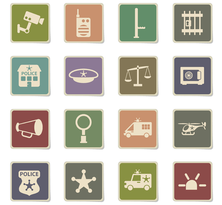 police department vector icons for web and user interface design