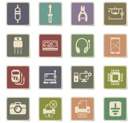 electronics repair web icons - paper stickers for user interface design