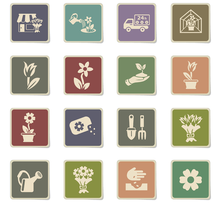 flowers web icons - paper stickers for user interface design Illustration