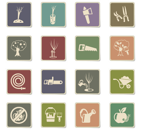 gardening web icons - paper stickers for user interface design