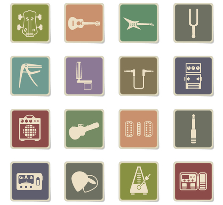 guitar and accessories web icons - paper stickers for user interface design