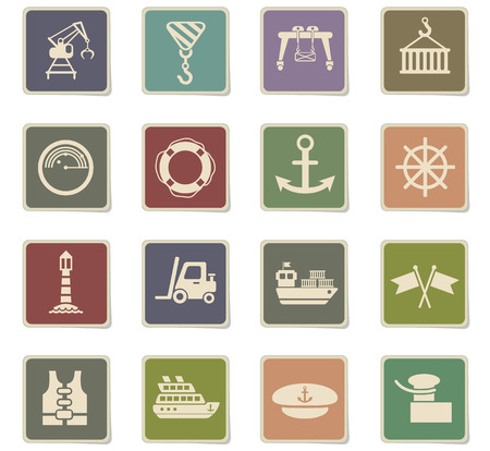 harbor web icons - paper stickers for user interface design
