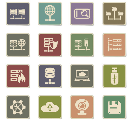 hosting provider web icons - paper stickers for user interface design Ilustração