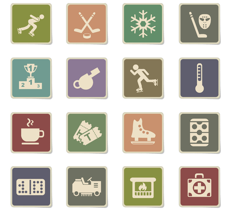 ice rink web icons - paper stickers for user interface design