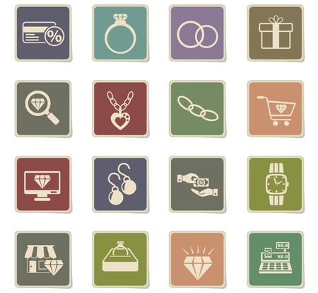 jewerly store web icons - paper stickers for user interface design Illustration