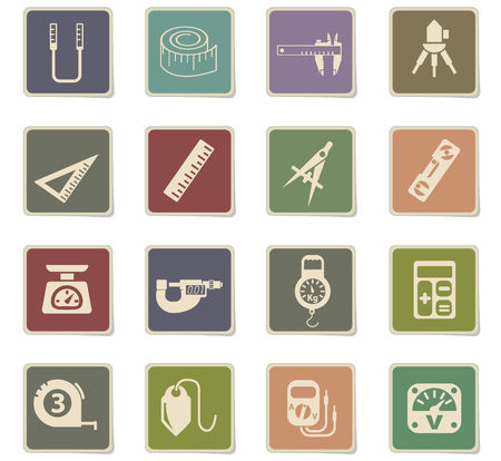 measuring tools web icons - paper stickers for user interface design
