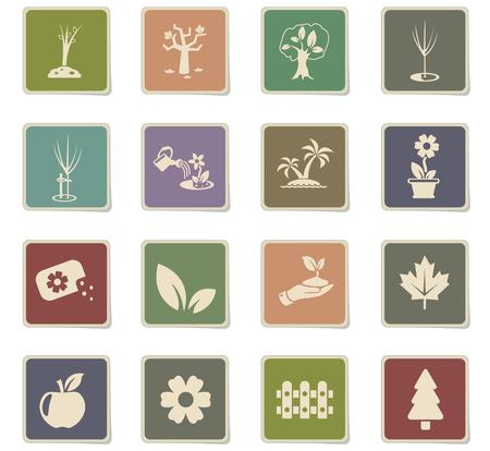 plants measuring tools web icons - paper stickers for user interface design Ilustração