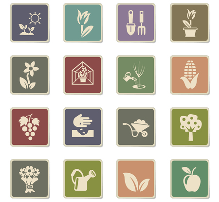 plants measuring tools web icons - paper stickers for user interface design Illustration