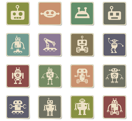robots web icons - paper stickers for user interface design