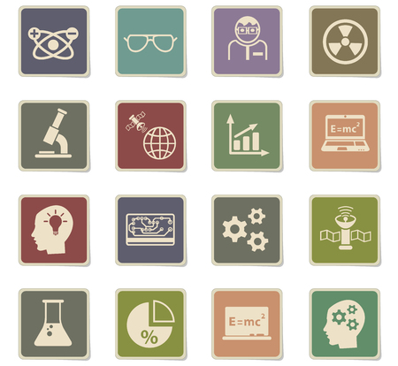 science web icons - paper stickers for user interface design