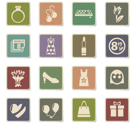 8 march web icons - paper stickers for user interface design