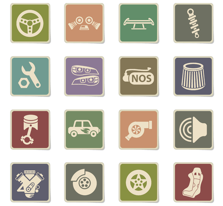 auto tuning web icons - paper stickers for user interface design Stock Vector - 112214716