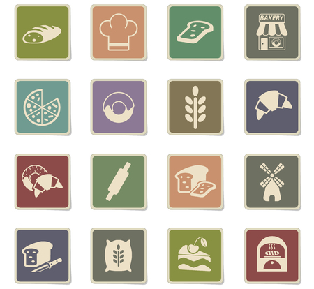 bakery web icons - paper stickers for user interface design