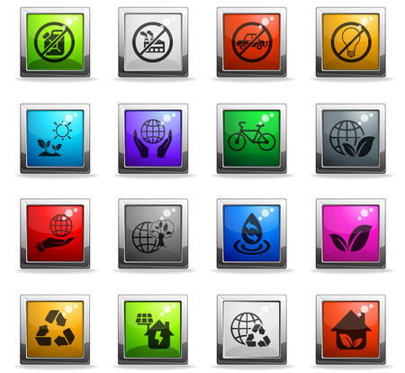earth day web icons in square colored buttons