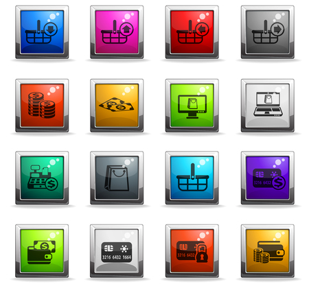 e-commerce vector icons in square colored buttons Illustration