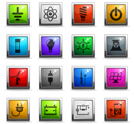 electricity vector icons in square colored buttons