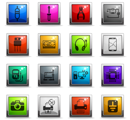 electronics repair web icons in square colored buttons