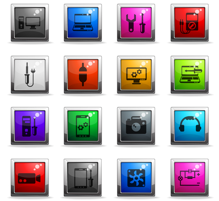 electronics repair vector icons in square colored buttons