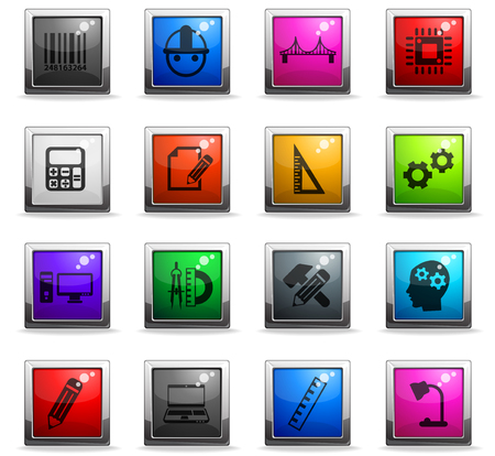 engineering vector icons in square colored buttons