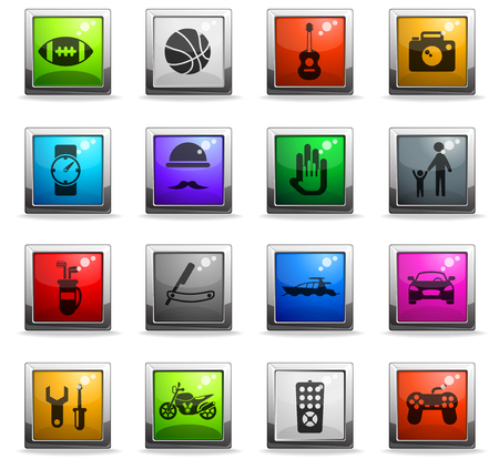 father day vector icons in square colored buttons