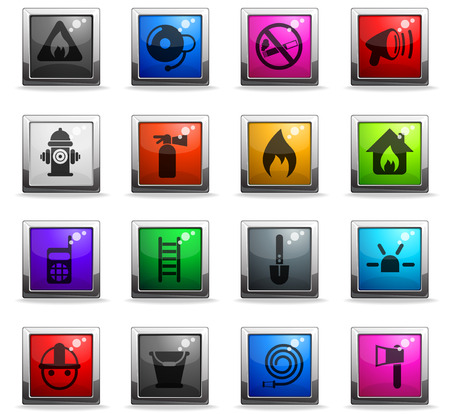 fire brigade vector icons in square colored buttons