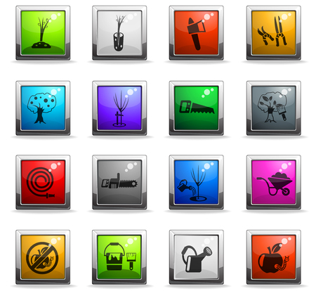 gardening web icons in square colored buttons Illustration