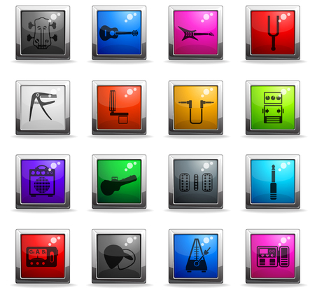 guitar and accessories web icons in square colored buttons Illustration