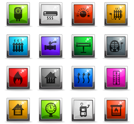 heating web icons in square colored buttons Illustration