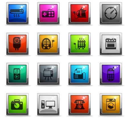 home appliances vector icons in square colored buttons for web and user interface design