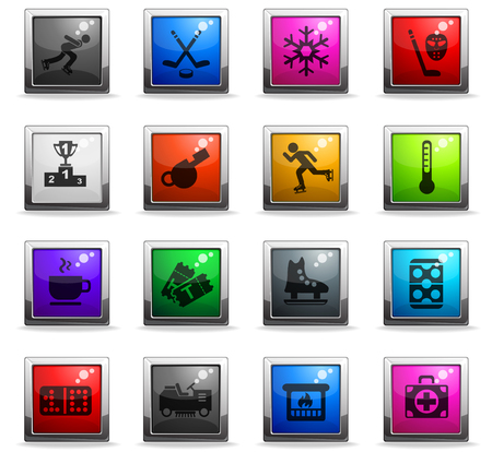 ice rink web icons in square colored buttons for user interface design